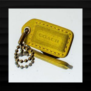 1.5″ Small COACH GREEN BROWN SUEDE LEATHER KEY FOB